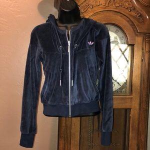 Adidas velour crop zip up sweater S